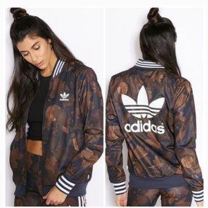 Rare Adidas ⭐ Leaf Camo Logo  Bomber Zip Up Jacket